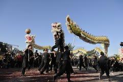 χρυσή παρέλαση δράκων Στοκ εικόνα με δικαίωμα ελεύθερης χρήσης