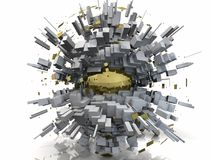 Χρυσή περίληψη Scape πόλεων χρωμίου διανυσματική απεικόνιση