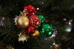 Χρυσή πράσινη κόκκινη διακόσμηση ανθοδεσμών Χριστουγέννων Στοκ Εικόνες