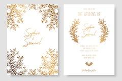 Χρυσή πρόσκληση με τους floral κλάδους Τα χρυσά πρότυπα καρτών για εκτός από την ημερομηνία, γάμος προσκαλούν, ευχετήριες κάρτες, διανυσματική απεικόνιση