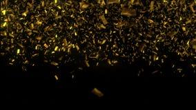 Χρυσή πτώση κομφετί στο μαύρο υπόβαθρο τρισδιάστατη απεικόνιση στοκ φωτογραφίες