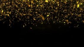 Χρυσή πτώση κομφετί στο μαύρο υπόβαθρο τρισδιάστατη απεικόνιση στοκ φωτογραφία με δικαίωμα ελεύθερης χρήσης