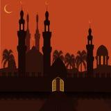Χρυσή πύλη στη ανατολική πόλη Οι τοίχοι πόλεων και το μουσουλμανικό τέμενος Σύμβολο διακοπών απεικόνιση Στοκ Φωτογραφίες