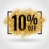 Χρυσή πώληση 10% τοις εκατό Στοκ Φωτογραφία