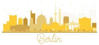 Χρυσή σκιαγραφία οριζόντων πόλεων του Βερολίνου Γερμανία Στοκ Εικόνες