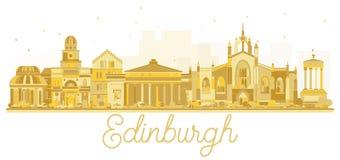 Χρυσή σκιαγραφία οριζόντων πόλεων του Εδιμβούργου Σκωτία διανυσματική απεικόνιση