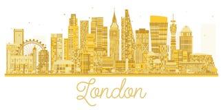 Χρυσή σκιαγραφία οριζόντων πόλεων του Λονδίνου διανυσματική απεικόνιση