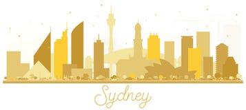 Χρυσή σκιαγραφία οριζόντων πόλεων του Σίδνεϊ Αυστραλία Στοκ εικόνες με δικαίωμα ελεύθερης χρήσης