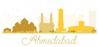 Χρυσή σκιαγραφία οριζόντων πόλεων του Ahmedabad Στοκ Φωτογραφία