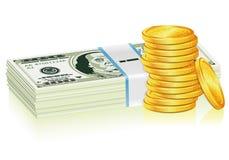 χρυσή στοίβα δολαρίων νομισμάτων διανυσματική απεικόνιση