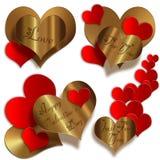 Χρυσή συλλογή καρδιών Στοκ εικόνα με δικαίωμα ελεύθερης χρήσης