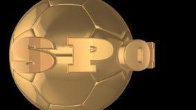 Χρυσή σφαίρα με τον αθλητισμό λέξης, ένα άλφα κανάλι απεικόνιση αποθεμάτων