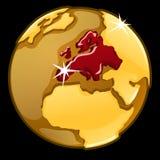 Χρυσή σφαίρα με χαρακτηρισμένος των χωρών της Ευρώπης απεικόνιση αποθεμάτων