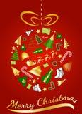 Χρυσή σφαίρα Χριστουγέννων με τα εικονίδια ελεύθερη απεικόνιση δικαιώματος