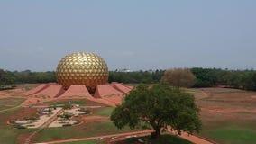 Χρυσή σφαίρα Auroville Ινδία Matrimandir απόθεμα βίντεο