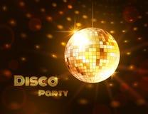 Χρυσή σφαίρα disco επίσης corel σύρετε το διάνυσμα απεικόνισης Στοκ φωτογραφία με δικαίωμα ελεύθερης χρήσης