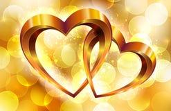 Χρυσή σύνθεση με τις καρδιές ελεύθερη απεικόνιση δικαιώματος