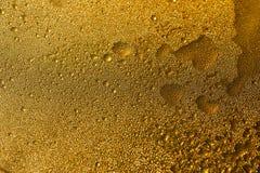 Χρυσή σύσταση με τις πτώσεις νερού Δίψα και η απόσβεσή του στοκ φωτογραφίες