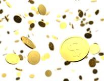 Χρυσή τρισδιάστατη βροχή νομισμάτων Στοκ εικόνες με δικαίωμα ελεύθερης χρήσης