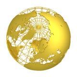 Χρυσή τρισδιάστατη σφαίρα γήινων πλανητών ελεύθερη απεικόνιση δικαιώματος
