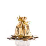 Χρυσή τσάντα για το νόμισμα beeing έννοιας λευκό τεχνολογίας συνδέσμων απομονωμένο εστίαση καλυμμένο στούντιο Στοκ Φωτογραφία