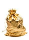 Χρυσή τσάντα με το δώρο Στοκ φωτογραφίες με δικαίωμα ελεύθερης χρήσης