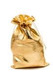 Χρυσή τσάντα με το δώρο Στοκ εικόνα με δικαίωμα ελεύθερης χρήσης