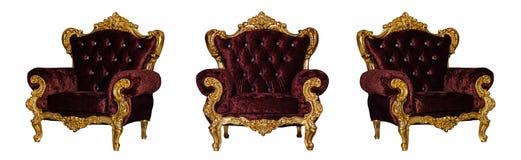 Χρυσή υφαντική καρέκλα πολυτέλειας Στοκ Εικόνες