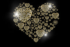 Χρυσή φλόγα διαμαντιών και πολύτιμοι λίθοι που απομονώνονται στο μαύρο backgro Στοκ εικόνα με δικαίωμα ελεύθερης χρήσης