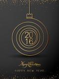 Χρυσή 2016 Χαρούμενα Χριστούγεννας σπειροειδής μορφή καλής χρονιάς Ιδανικό για την κάρτα Χριστουγέννων ή την κομψή πρόσκληση κομμ Στοκ Φωτογραφία