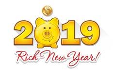 Χρυσή piggy τράπεζα και χρυσοί αριθμοί νομισμάτων το 2019 - IllustrationBank, νόμισμα, τράπεζα νομισμάτων, νόμισμα, κιβώτιο δωρεά διανυσματική απεικόνιση