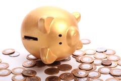 Χρυσή piggy τράπεζα με την αποταμίευση στα νομίσματα των βραζιλιάνων χρημάτων Στοκ Φωτογραφία