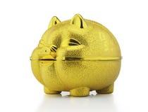 Χρυσή piggy τράπεζα με το ψαλίδισμα της πορείας Στοκ Φωτογραφία