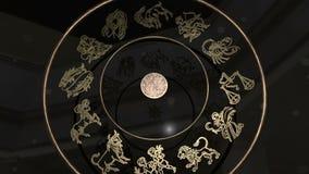 Χρυσή Zodiac ρόδα απόθεμα βίντεο