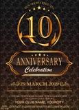 10 χρυσοί αριθμοί επετείου στο floral υπόβαθρο σχεδίων 10ο πρότυπο κομμάτων γεγονότος επετείου εορτασμού διανυσματική απεικόνιση