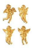 Χρυσοί αριθμοί διακοσμήσεων αγγέλου Χριστουγέννων πέρα από το λευκό Στοκ Εικόνα