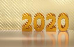 Χρυσοί 2020 αριθμοί πέρα από την αντανακλαστική επιφάνεια απεικόνιση αποθεμάτων
