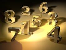 χρυσοί αριθμοί Στοκ εικόνα με δικαίωμα ελεύθερης χρήσης