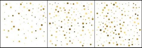 Χρυσοί εορτασμοί κομφετί αστεριών Απλό εορταστικό σύγχρονο σχέδιο Διάνυσμα διακοπών Σύνολο 3 σε 1 ελεύθερη απεικόνιση δικαιώματος