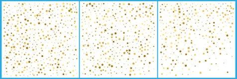 Χρυσοί εορτασμοί κομφετί αστεριών Απλό εορταστικό σύγχρονο σχέδιο Διάνυσμα διακοπών Σύνολο 3 σε 1 διανυσματική απεικόνιση