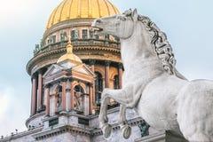 Χρυσοί θόλος καθεδρικών ναών του ST Isaac ` s και αγάλματα του αλόγου πετρών Στοκ Εικόνες