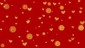 Χρυσοί καρδιές και κύκλοι στο κόκκινο υπόβαθρο διανυσματική απεικόνιση
