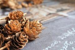 Χρυσοί κώνοι, Χριστούγεννα, σύσταση Στοκ φωτογραφία με δικαίωμα ελεύθερης χρήσης