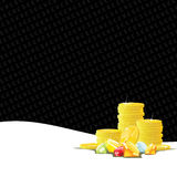 Χρυσοί νομίσματα και πολύτιμοι λίθοι που παίζουν το υπόβαθρο διανυσματική απεικόνιση