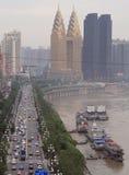 Χρυσοί πύργοι και άλλοι ουρανοξύστες στην πόλη Chongqing Στοκ εικόνα με δικαίωμα ελεύθερης χρήσης