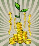 Χρυσοί σωροί νομισμάτων με το δέντρο χρημάτων, βέλη αύξησης, αναδρομικό υπόβαθρο ακτίνων επίσης corel σύρετε το διάνυσμα απεικόνι Στοκ φωτογραφία με δικαίωμα ελεύθερης χρήσης