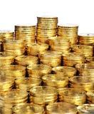 χρυσοί σωροί νομισμάτων Στοκ εικόνα με δικαίωμα ελεύθερης χρήσης