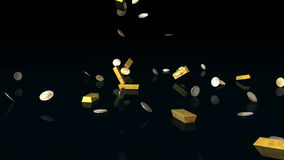 Χρυσοί φραγμοί και ευρο- νομίσματα που αφορούν το αντανακλαστικό πάτωμα, άλφα κανάλι, μήκος σε πόδηα αποθεμάτων ελεύθερη απεικόνιση δικαιώματος