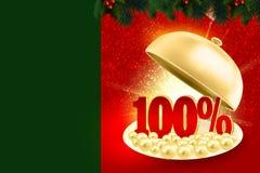 Χρυσός δίσκος υπηρεσιών που αποκαλύπτει κόκκινα percents 100% διανυσματική απεικόνιση