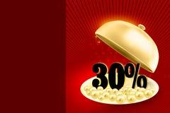 Χρυσός δίσκος υπηρεσιών που αποκαλύπτει μαύρα percents 30% Στοκ Εικόνα